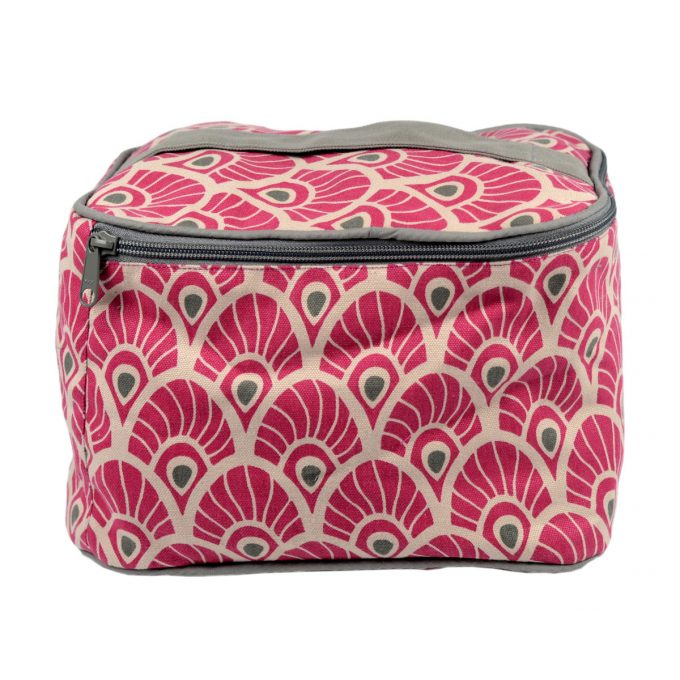 Tallentire House Cosmetics Purse Vanity Feather Fuchsia Red