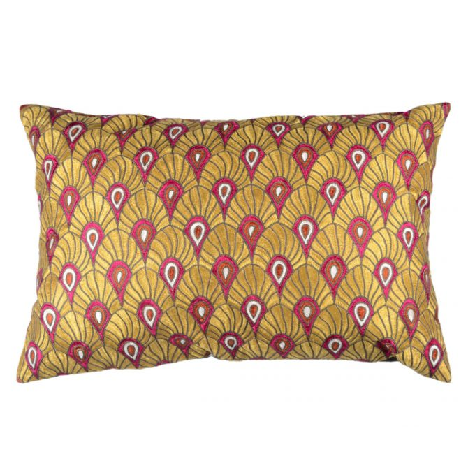 Tallentire House Cushion Silk Feather Embroidered Gold Pink