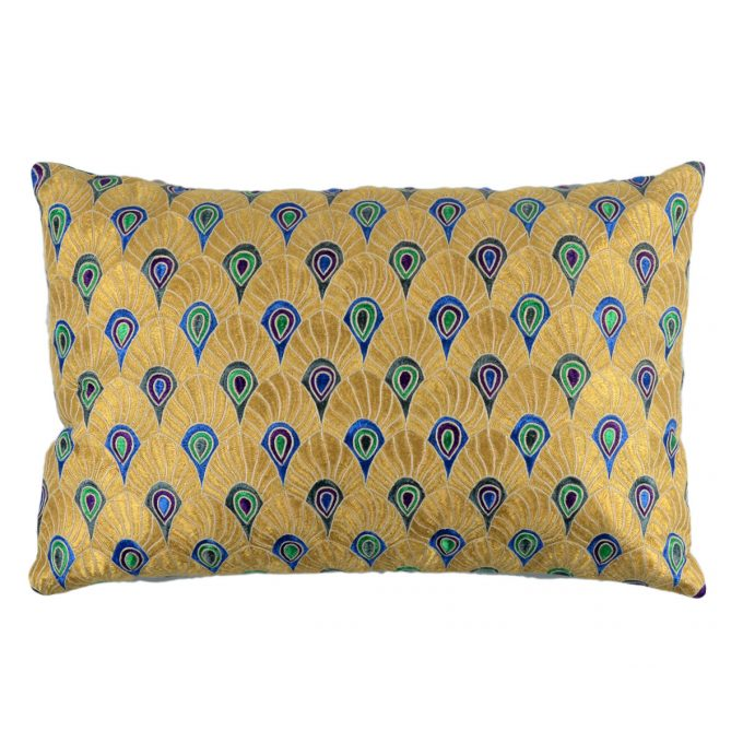 Tallentire House Cushion Silk Feather Embroidered Gold Turquoise