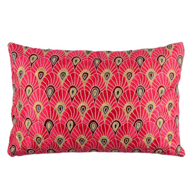 Tallentire House Cushion Silk Feather Embroidered Pink