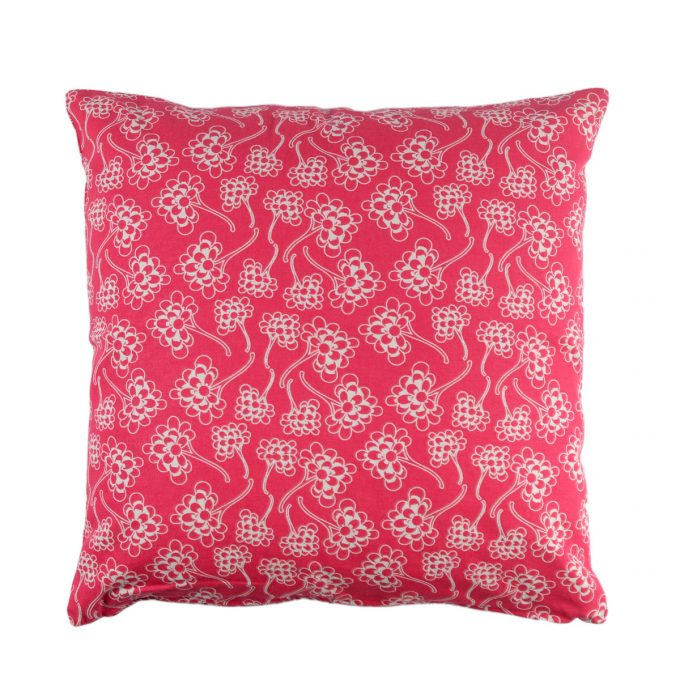 Tallentire House Cushion Square Chinese Flower Bright Rose Inverse