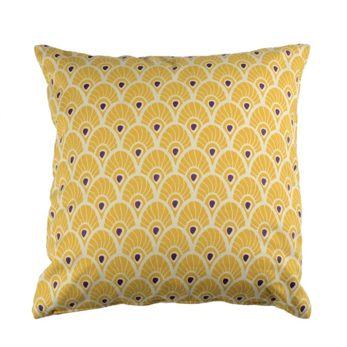 Tallentire House Cushion Square Feather Oil Yellow 1
