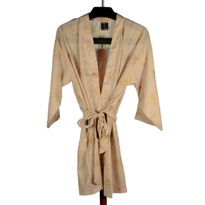 Tallentire House Dressing Gown Corn Dusty Pink Gold