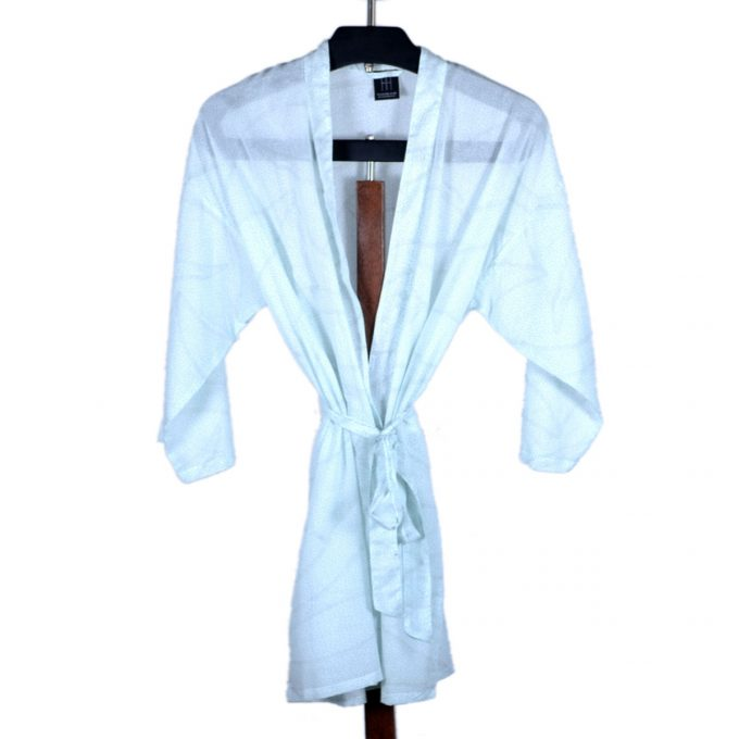 Tallentire House Dressing Gown Dots Blue Blush Metal