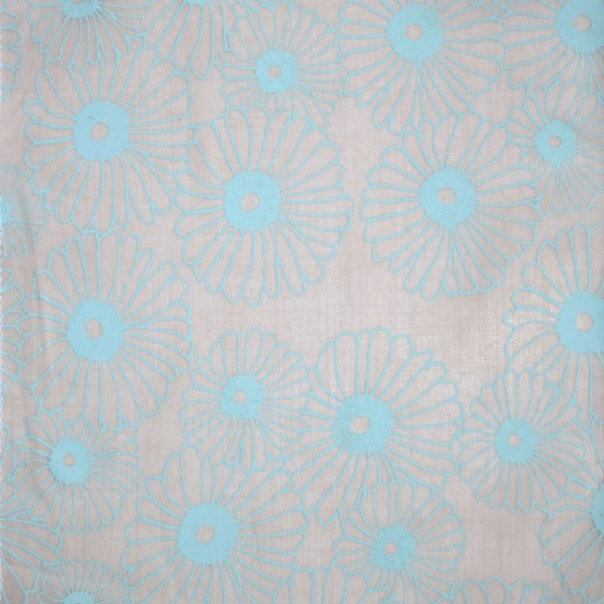 Tallentire House Fabrics Voile Korean Flower Dusty Pink Barely Blue