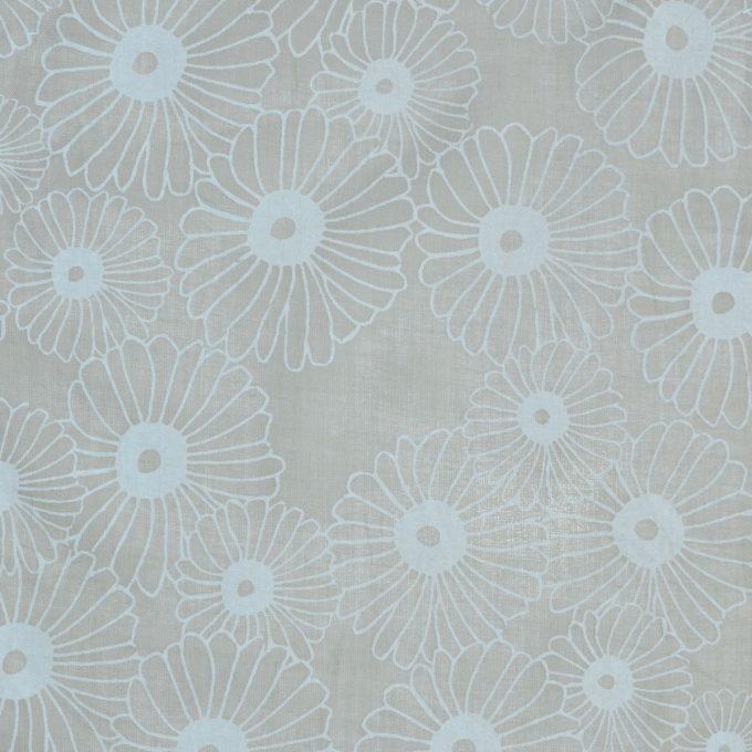 Tallentire House Fabrics Voile Korean Flower Sea Green Chalk