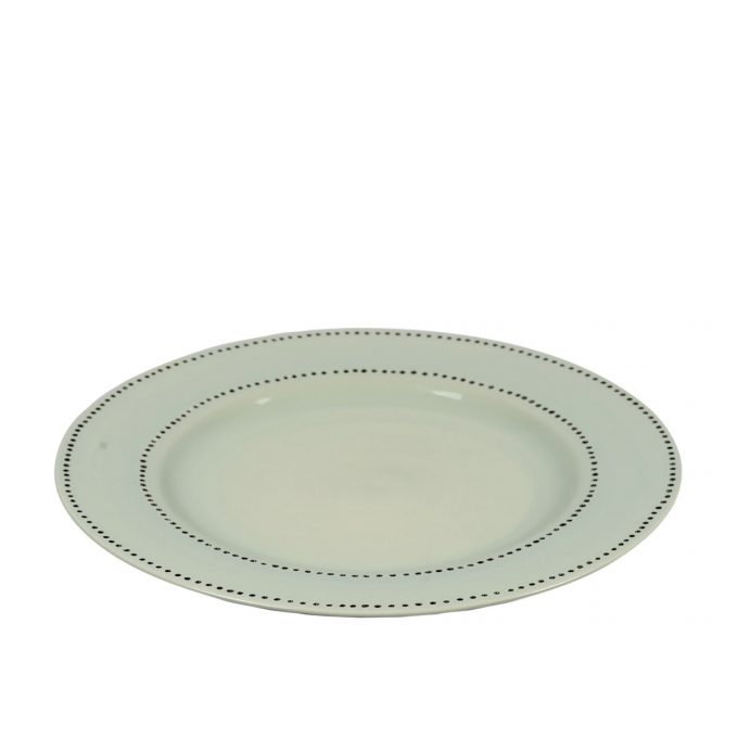 Tallentire House Plate Dots Duck Egg Side View