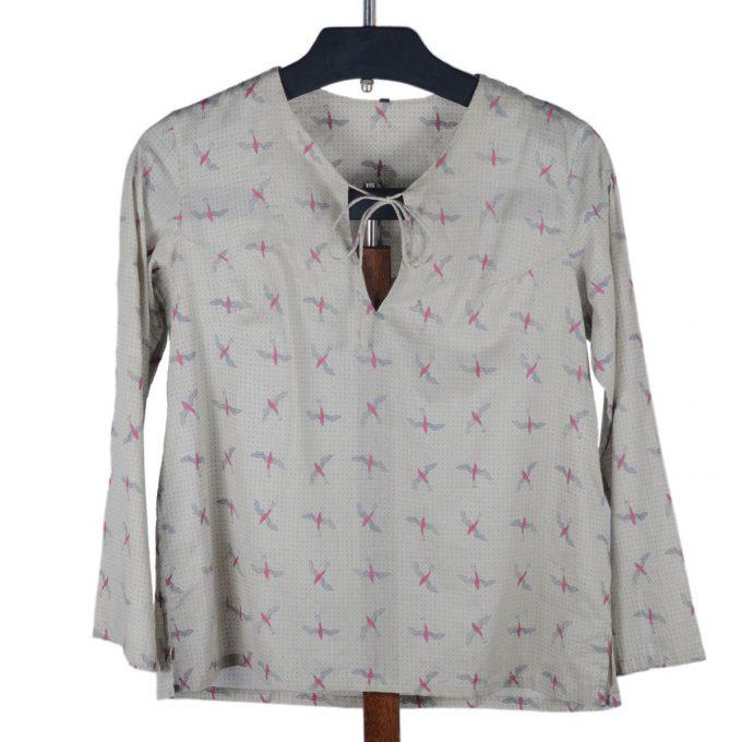 Tallentire House Pyjama Top Bird Bright Rose