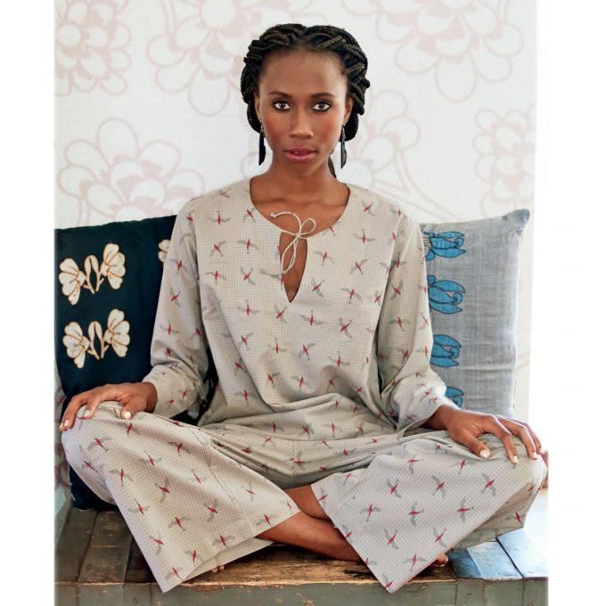 Tallentire House Woman Pyjama Bird Bright Rose